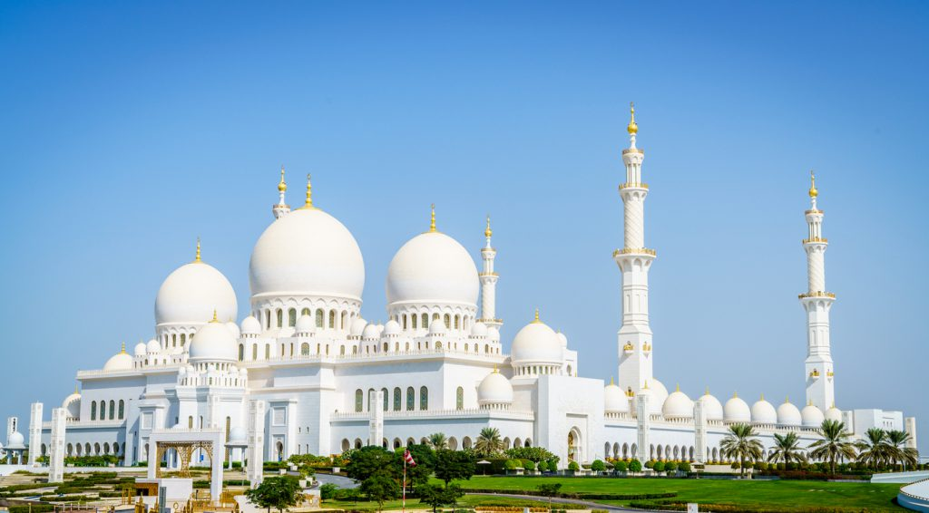 Outside view of Sheikh Zayed Grand Mosque in Abu Dhabi