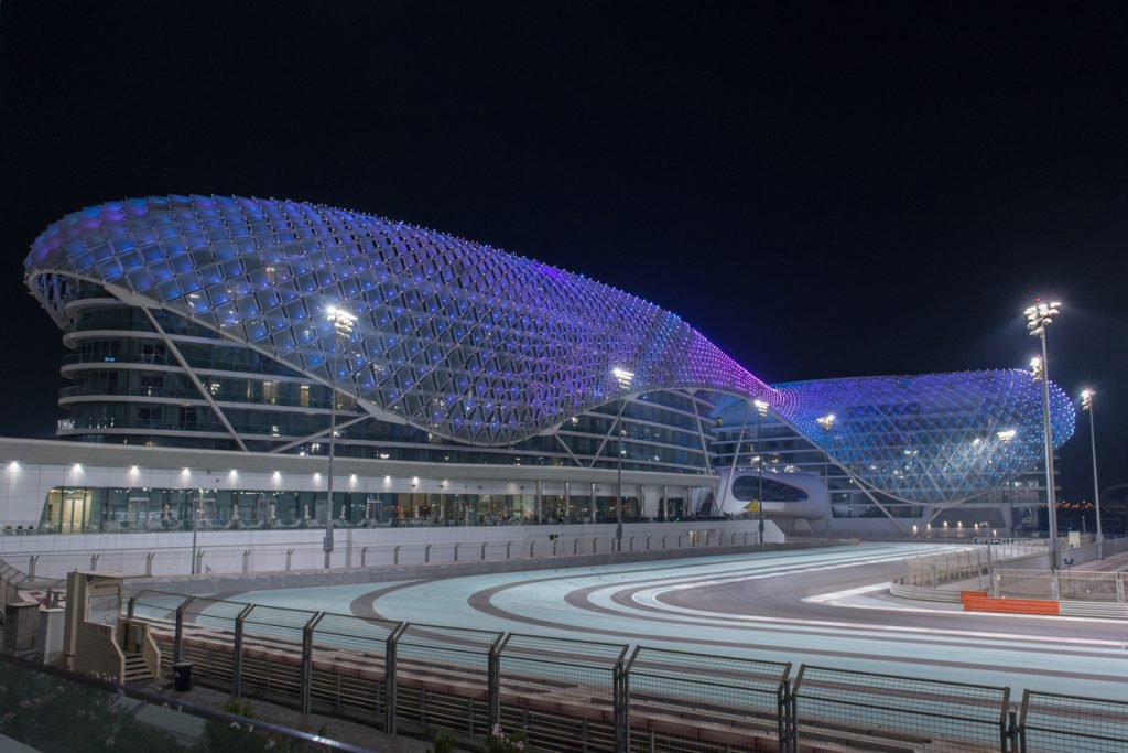 Yas Marina Circuit in the foreground. The Yas Marina Circuit hosts Abu Dhabi's round of the Formula 1 World