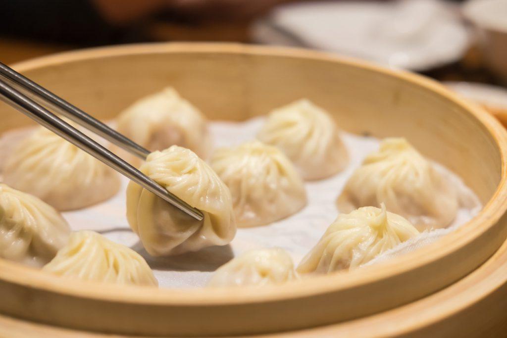 Xiaolongbao,steamed dumpling on the plate