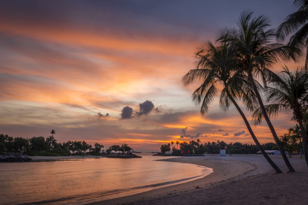 Sunset on the island of Sentosa in Singapore.