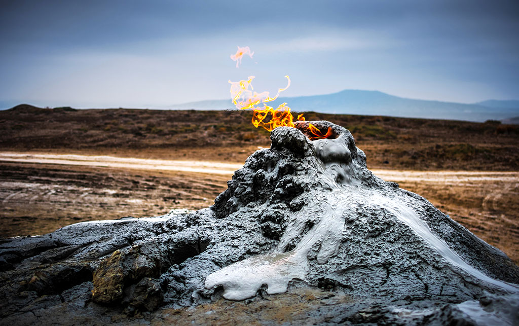 Burning gas in the mud volcanoes of Gobustan, Azerbaijan