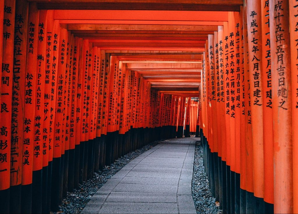 famous torii gate shrine in kyoto japan